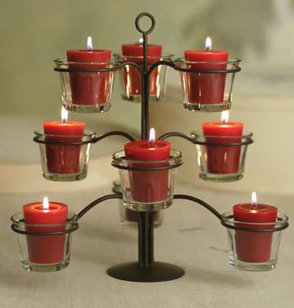 This votive candle tree holds